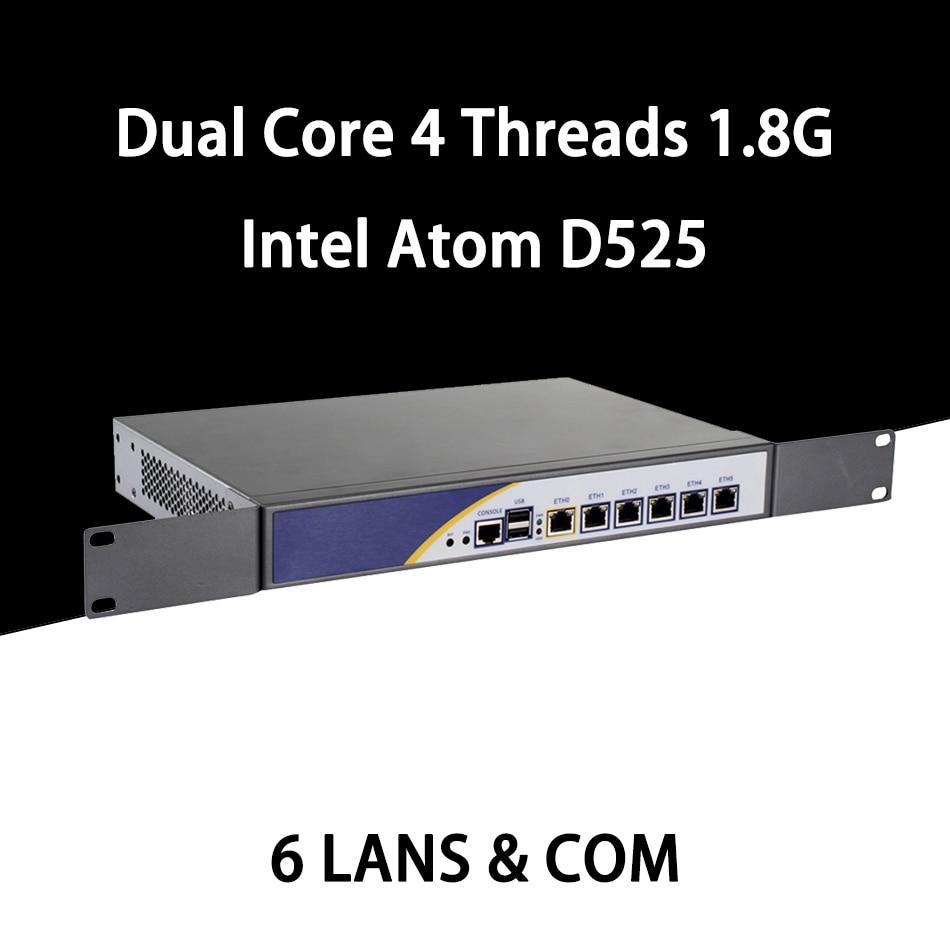 Firewall Mikrotik Pfsense VPN Network Security Appliance Router PC Intel Atom D525,[HUNSN SA04R],(6LAN/2USB2.0/1COM/1VGA/FAN)
