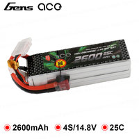 Gens ace 2600mAh 4S 14.8V 25C 50C Lipo Battery with Deans Plug for YaTuo 450 Helicopter Fixed Wing Drone Airplane