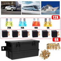 Black 12V 80A Auto Car Part 6 way 6 Relays w/ Relay Box 12 Blade Fuses Waterproof for cars automotive marine boats
