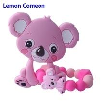 Lemon Comeon New Koala Tooth Gel Mini Koala Silicone Bead Baby Teether Bracelet Chew Bead Pacifier Toy Teeth Baby Care Bracelet sothys invigorating shower gel lemon