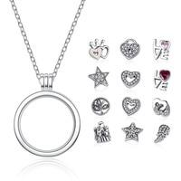 Genuine 925 Sterling Silver Medium Petite Memories Floating Locket Necklaces & Pendants Sterling Silver Jewelry Psf001