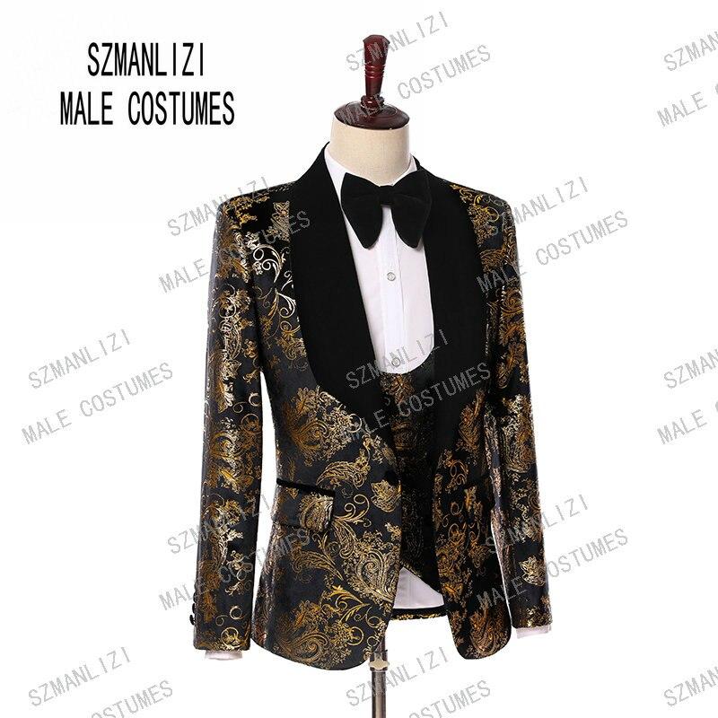 Wedding Men Suits 2019 New Designs Gentleman Velvet Lapel Slim Fit Black Gold Flower Party Groom Tuxedo For Men 3 Pieces Suit