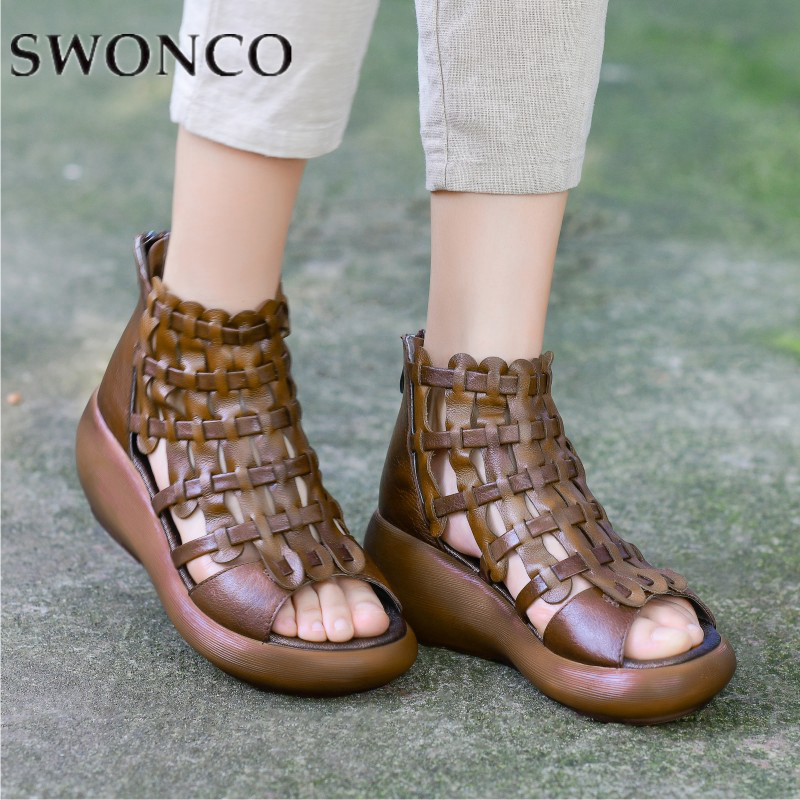 SWONCO Women Sandals Retro Genuine Leather Hollow Out Summer Shoes Lady Wedges Gladiator Sandals For Female 2019 Woman SandalSWONCO Women Sandals Retro Genuine Leather Hollow Out Summer Shoes Lady Wedges Gladiator Sandals For Female 2019 Woman Sandal