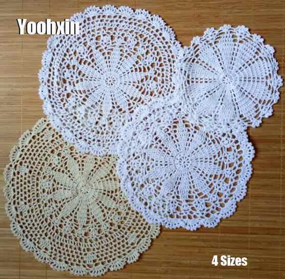 Luxury Lace Cotton Table Place Mat Cloth Crochet Round Placemat