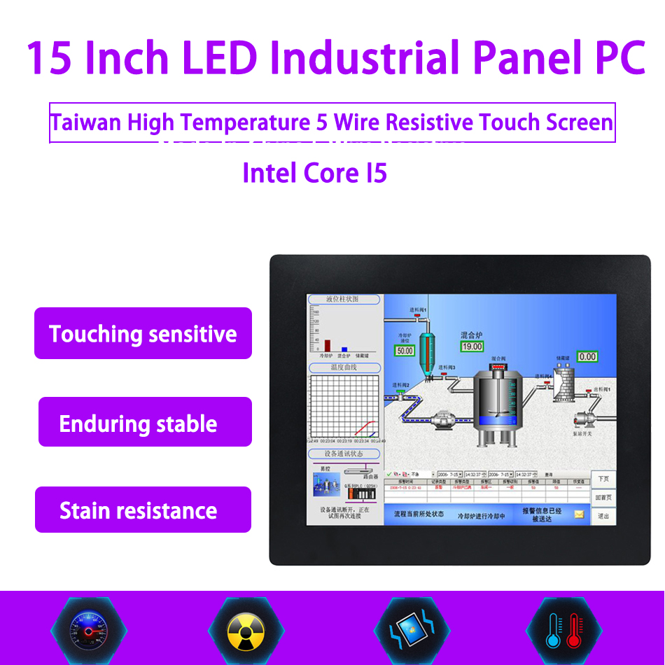 15 Inch LED Industrial Panel PC,Intel Core I5,Windows 7/10/Linux Ubuntu,Taiwan 5 Wire Resistive Touch Screen,[HUNSN DA09W]