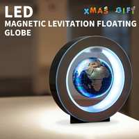 4 Inch Illuminated Magnetic Auto Rotating Globe Anti Gravity Floating Levitating Earth Globe World Map LED Desktop Home Decor