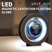 4 Inch Illuminated Magnetic Auto Rotating Globe Anti Gravity Floating Levitating Earth Globe World Map LED Desktop Home Decor