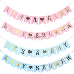 Image 5 - Sua uma menina balão seu um menino balão menino menina chuveiro banners bandeiras rosa azul confetes chuveiro do bebê balões decorações de festa