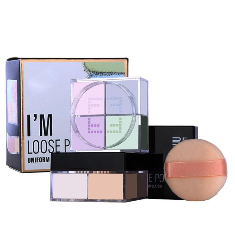 Купить с кэшбэком Facial Make Up 4 Color Loose Powder Makeup Palette Oil-control Smooth Powder Silky Face Base Brightening Cheek Dropshipping