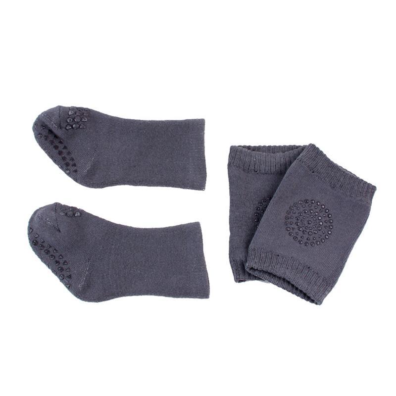 1 Paar Infant Kleinkind Baby Kneepad Mit 1 Paar Socken Anti-slip Krabbeln Sicherheit Schutz