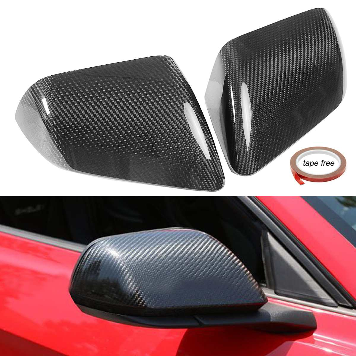 Autoleader Carbon Fiber Side Mirror Covers Caps Replacement Shell For Ford For Mustang Gt 2015-2017 W/o Led Signal Mirror & Covers