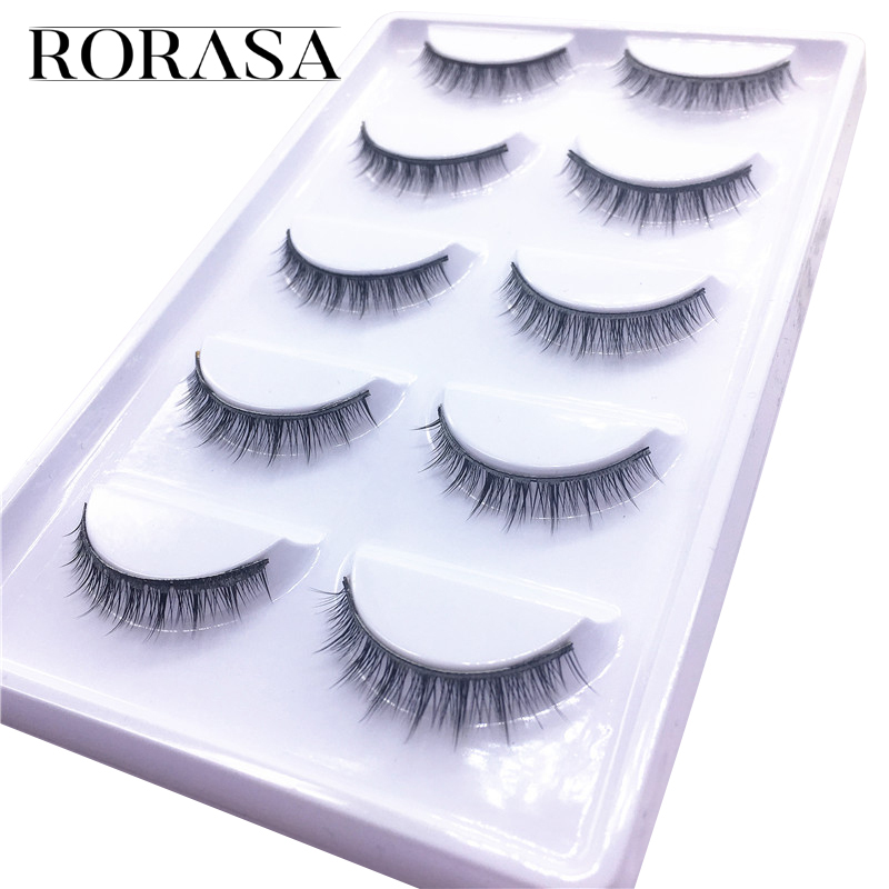 Pro Cosmetic Accessories 5 Pairs Fake Eye Lashes Popular Handmade Natural Short Cross False Eyelashes Makeup Tool Beauty Make Up
