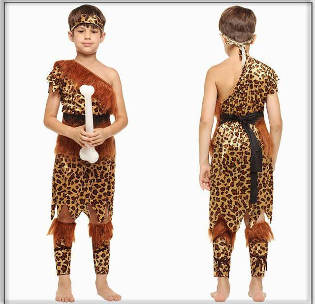 Original Costumes.Children Boys Aboriginal African Original Indian Savage Costume Kids Wild Cosplay Halloween Costumes Party Dress Supplies Purim