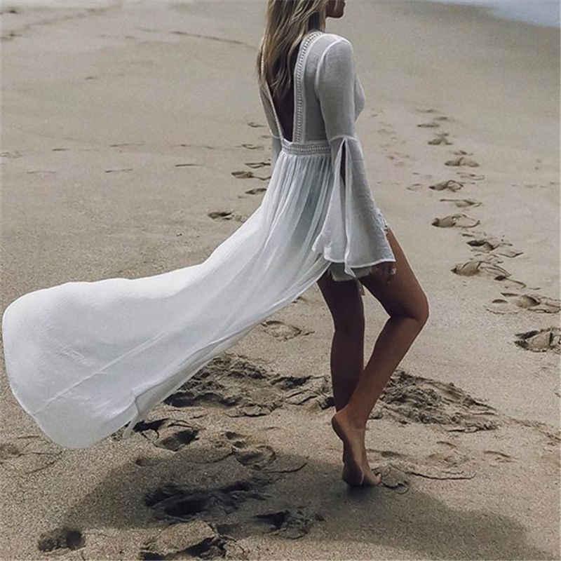 2019 Tuniche per la Spiaggia del Costume Da Bagno Cover up Donne Costumi Da Bagno Lungo Caftano Beach Cover up Beachwear Pareo Beach Dress Saida de praia