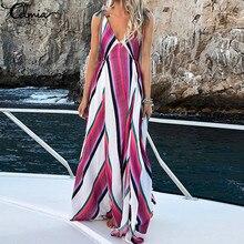 Celmia 2019 Summer Beach Dress Women Sexy Strap Deep V Neck Striped Print Party Dresses Female Long Maxi Vestidos Plus Size