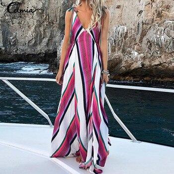 470bfcc34487 Celmia 2019 verano playa Vestido Mujer Sexy Correa profundo cuello pico  rayado Vestidos de fiesta mujer largo Maxi Vestidos Plus tamaño
