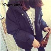 Puffer Jacket Solid Pocket Zipper Short Parka Women's Down Jacket Korean Down Jacket Hat \Woman Coats Winter 2018 5XL
