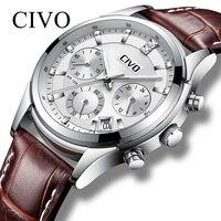 CIVO новые модные спортивные для мужчин s деловые мужские часы водостойкие часы хронограф дат кварцевые Мужской платье Relogio Masculino