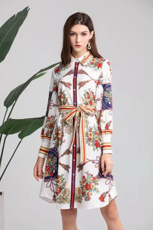 New Fashion Women 2019 Spring Dress Luxury Famous Brand European Design Party Style Dress Wd02425