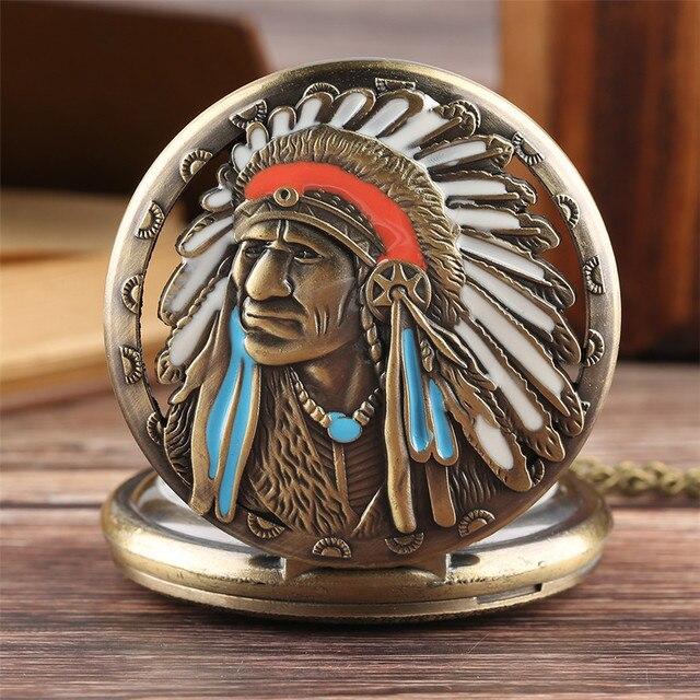 Old Fashion Quartz Pendant Pocket Watch Native American Old Man Display Steampun