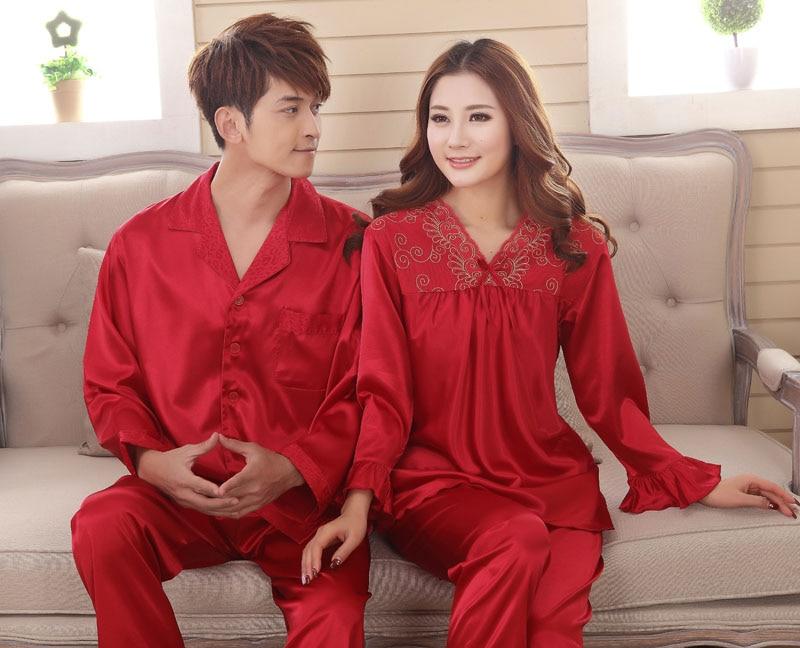 chinese clothes Lover's faux silk  sleep loungeRayon  pajama sets  for men  women  red marriage wedding pijamas  lady's pyjamas