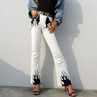 White Casual Wide Leg Pant Women High Waist Elegant Flared Trousers Capris Streetwear Fire Print Bell Pants