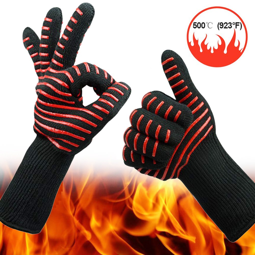 500 degree high temperature silicone protective gloves microwave oven BBQ aramid cut-proof waterproof industrial