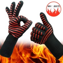 500 degree high temperature silicone protective gloves microwave oven BBQ aramid cut-proof waterproof industrial gloves