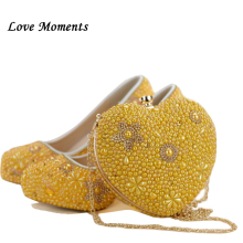 New Gold Yellow Pearl shoes and bags to match woman shoes with matching bag heart high heels womens Pumps ladies Platform shoes цена
