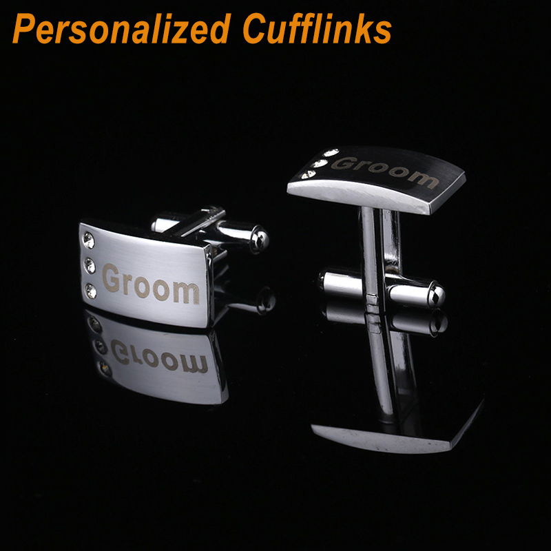 Qi Qi Wu Personalized Customized Mansuffs Hadiah Perkahwinan Cuff links Laser Engraved Name Cuffs Classic Men Pengantin Lelaki Hadiah CL-001
