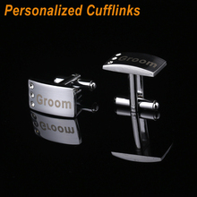 Stainless syeel customized name cuff link -Personalized Fashion Cufflinks  Men