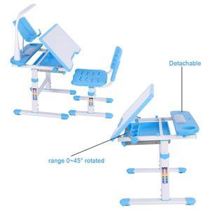 Image 4 - Bureau pour enfants à hauteur réglable et chaise confortable avec lampe 100 ~ 240 V Table détude pour enfants
