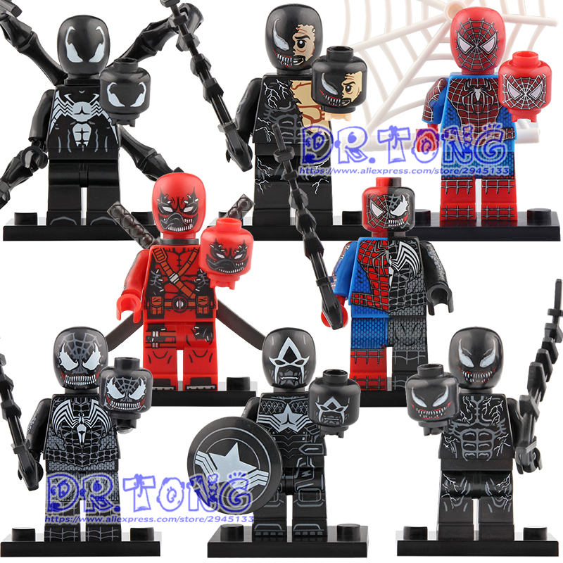 Blocks Dashing 20pcs Marvel Super Heroes Venom Deadpool Spider-man Captain American Legoingly Building Blocks Bricks Toys For Children Kt1010 To Prevent And Cure Diseases Toys & Hobbies