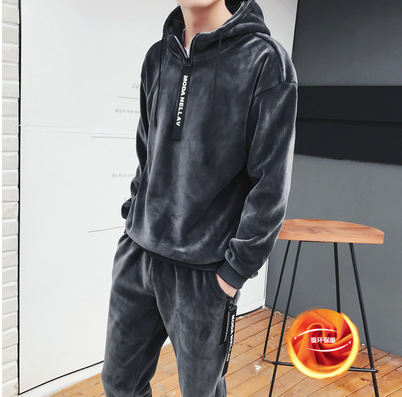 Hommes ensemble 2018 hiver nouveau plus or velours épaissir chaud à capuche sweat streetwear hoodies + pantalon deux pièces ensemble hommes costumes - 3