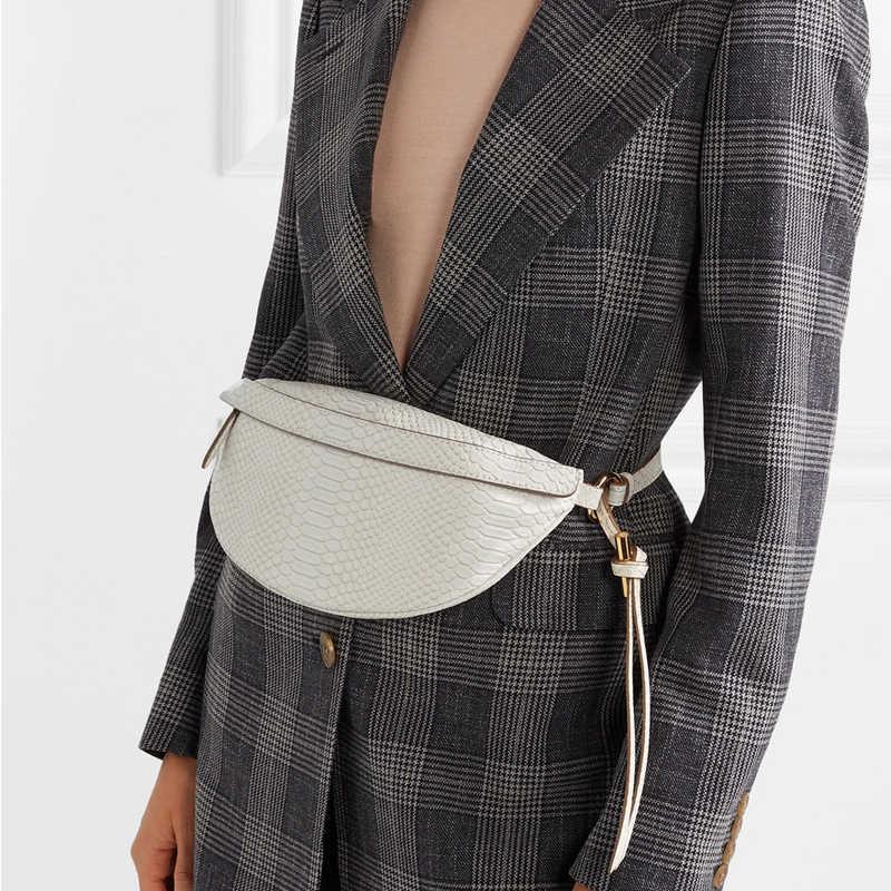 Короткая дизайнерская модная Женская поясная сумка со змеиным узором из искусственной кожи, повседневные поясные сумки для девушек, роскошные женские нагрудные сумки, поясная сумка