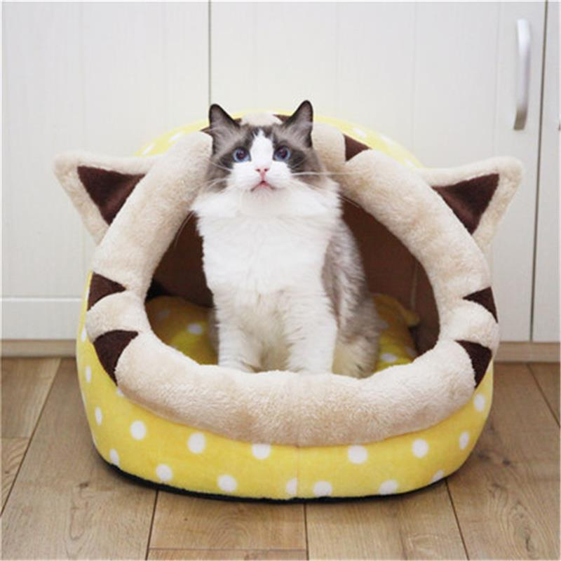 High Quality Pet House Cotton Plush Cat Cave Bed Dog Lovely Soft Suitable Cushion