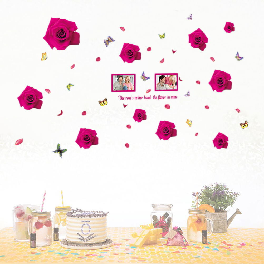 Non Toxic Removable Peel And Stick Romantic Hot Pink Rose Wallpaper Wall Stickers Wall Decals Tv Background Wall Stickers Aliexpress