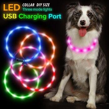 LED Hund Kragen USB Aufladbare Licht Kragen Für Große Hunde Welpen Kleine Glühende leuchtende kragen Wasser-Beständig Ketten Für chien