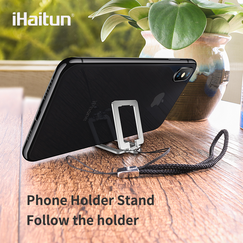 IHaitun 2in1 Desk Mobile Phone Holder Stand For IPhone XS MAX XR X Desk Mount Ring For Xiaomi Samsung Huawei Moving Lanyard