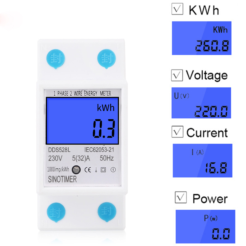 LCD Digital Energy <font><b>Meter</b></font> 230V AC 50Hz Single Phase Backlit Display Wattmeter Power Consumption Energy kWh <font><b>Electricity</b></font> <font><b>Meters</b></font> image