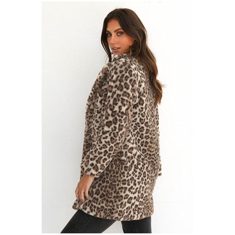Womens Winter Fashion Leopard Fluffy Fleece Jacket Coat Cardigans Long Sleeve Tops jeans con blazer mujer