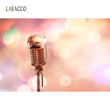Laeacco Stage Microphone Light Backdrop Photography Backgrounds Customized Photographic Backdrops For Photo Studio