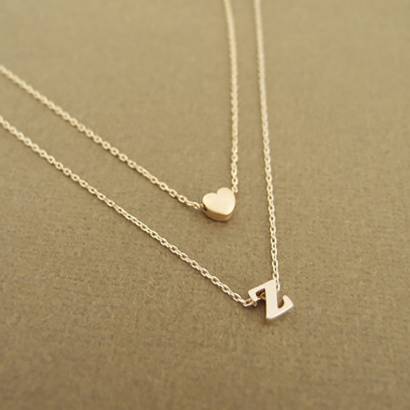 Fashion Tiny Heart Initial Double Layer Necklace Personalized Initial Dainty Necklace 26 Letter Name Jewelry Girlfriend Gift