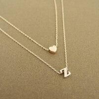 Mode petit coeur initiale Double couche collier personnalisé initiale délicate collier 26 lettre nom bijoux petite amie cadeau