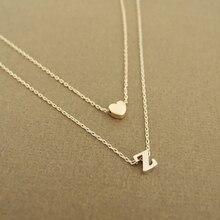 Модное крошечное сердце, оригинальное Двухслойное ожерелье, индивидуальное Оригинальное изысканное ожерелье, 26 букв, имя, ювелирное изделие, подарок девушке
