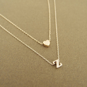 Fashion Tiny Heart Initial Double layer Necklace Personalized Initial Dainty Necklace 26 Letter Name Jewelry girlfriend gift(China)