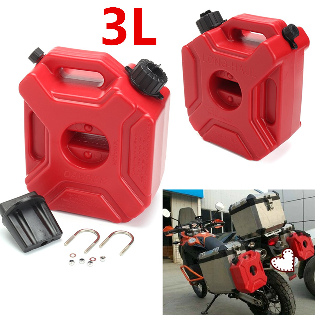 Portable jerrycan gaz réservoir de carburant en plastique essence voiture Gokart conteneur de rechange essence réservoirs d'essence bidon ATV UTV moto 3L