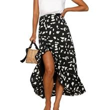 Повседневное Для женщин принт Миди-юбки модные Высокая Талия Обёрточная бумага нерегулярные оборками юбки Дамы Boho летние пляжные свободные юбки