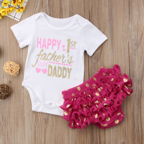 Fathers Day Baby Girls Summer Outfits Clothes Father's Daddy Romper Tops +Tutu Pants 2PCS Set