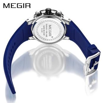 Mens Chronograph Watch   Relogio Masculino MEGIR Men Watches Silicone Sport Chronograph Quartz Military Watch Luxury Brand Zegarek Meski Erkek Kol Saati